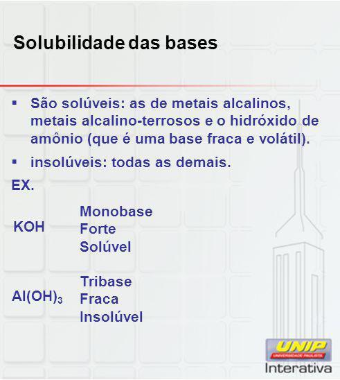Solubilidade das bases  São solúveis: as de metais alcalinos, metais alcalino-terrosos e o hidróxido de amônio (que é uma base fraca e volátil).  in