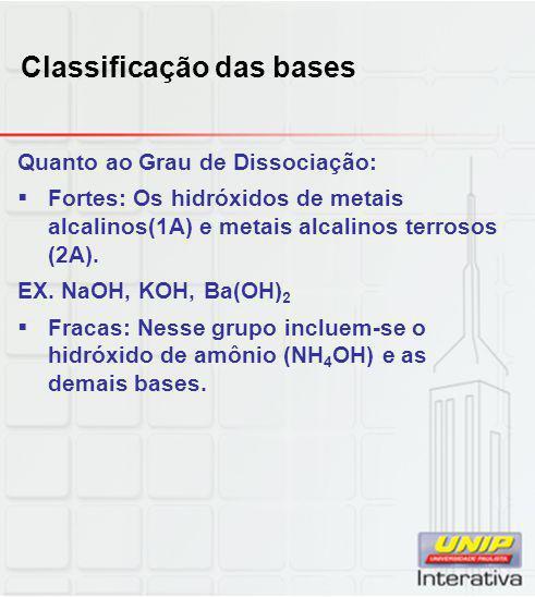 Classificação das bases Quanto ao Grau de Dissociação:  Fortes: Os hidróxidos de metais alcalinos(1A) e metais alcalinos terrosos (2A). EX. NaOH, KOH