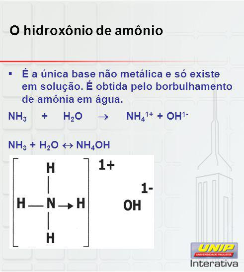 O hidroxônio de amônio  É a única base não metálica e só existe em solução. É obtida pelo borbulhamento de amônia em água.  NH 3 + H 2 O  NH 4 1+ +