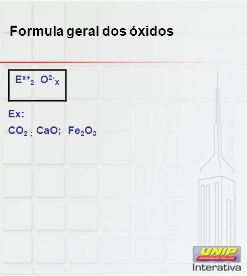 Formula geral dos óxidos Ex: CO 2 ; CaO; Fe 2 O 3 E x+ 2 O 2- X