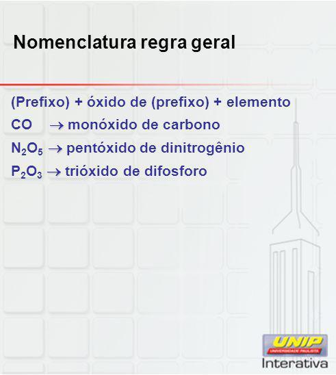 Nomenclatura regra geral (Prefixo) + óxido de (prefixo) + elemento  CO  monóxido de carbono  N 2 O 5  pentóxido de dinitrogênio  P 2 O 3  trióxi