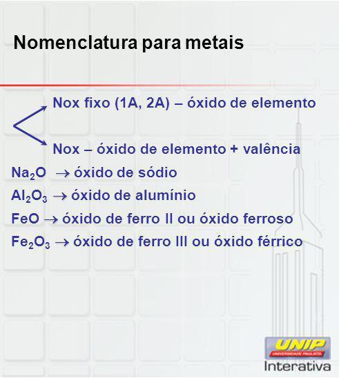 Nomenclatura para metais Nox fixo (1A, 2A) – óxido de elemento Nox – óxido de elemento + valência  Na 2 O  óxido de sódio  Al 2 O 3  óxido de alum