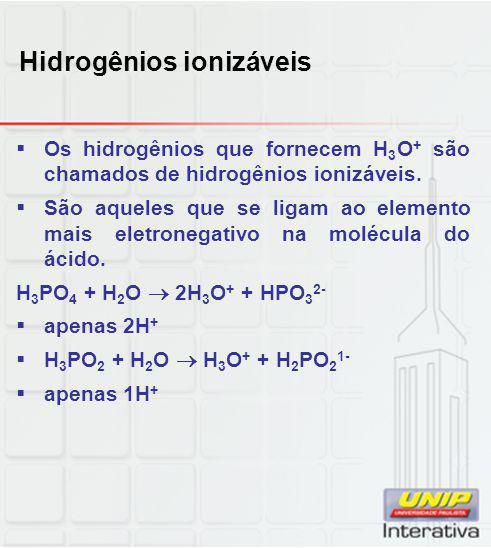 Hidrogênios ionizáveis  Os hidrogênios que fornecem H 3 O + são chamados de hidrogênios ionizáveis.  São aqueles que se ligam ao elemento mais eletr