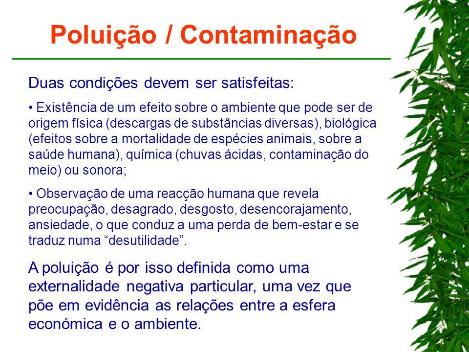 Poluição / Contaminação Duas condições devem ser satisfeitas: Existência de um efeito sobre o ambiente que pode ser de origem física (descargas de sub