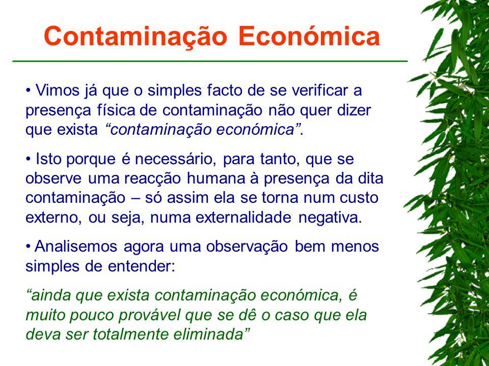 """Contaminação Económica Vimos já que o simples facto de se verificar a presença física de contaminação não quer dizer que exista """"contaminação económic"""