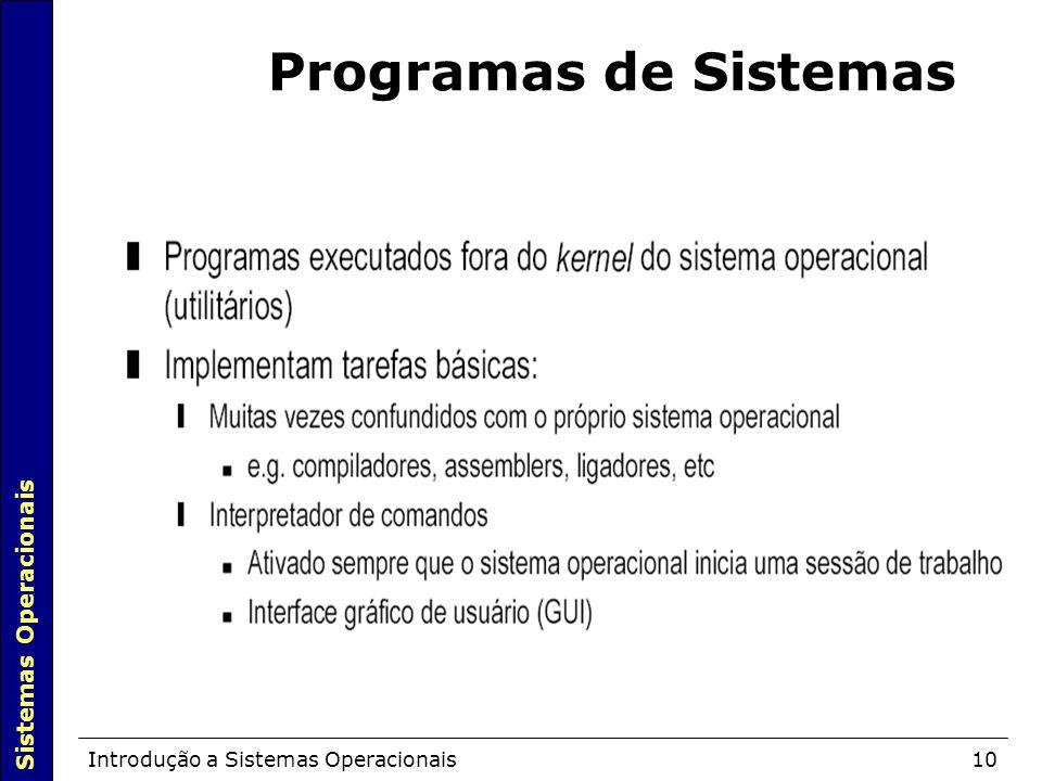 Sistemas Operacionais Introdução a Sistemas Operacionais10 Programas de Sistemas