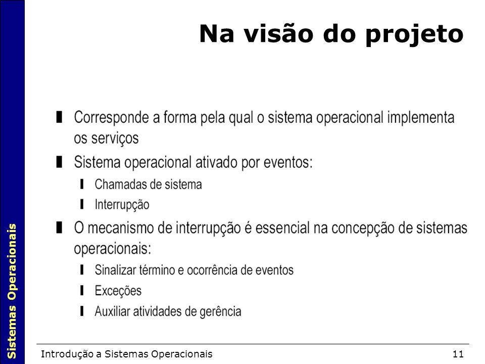 Sistemas Operacionais Introdução a Sistemas Operacionais11 Na visão do projeto