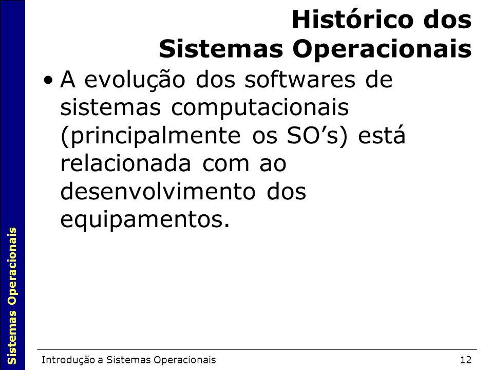 Sistemas Operacionais Introdução a Sistemas Operacionais12 Histórico dos Sistemas Operacionais A evolução dos softwares de sistemas computacionais (principalmente os SO's) está relacionada com ao desenvolvimento dos equipamentos.