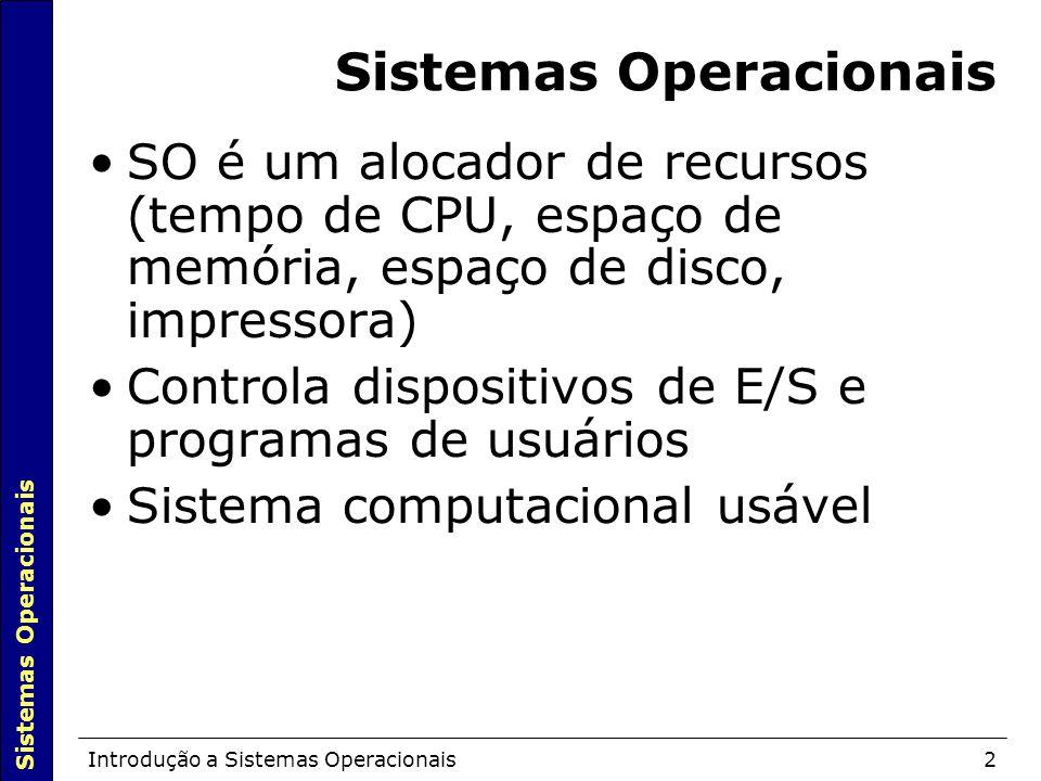 Sistemas Operacionais Introdução a Sistemas Operacionais2 Sistemas Operacionais SO é um alocador de recursos (tempo de CPU, espaço de memória, espaço de disco, impressora)  Controla dispositivos de E/S e programas de usuários Sistema computacional usável