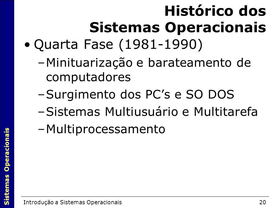 Sistemas Operacionais Introdução a Sistemas Operacionais20 Histórico dos Sistemas Operacionais Quarta Fase (1981-1990)  –Minituarização e barateamento de computadores –Surgimento dos PC's e SO DOS –Sistemas Multiusuário e Multitarefa –Multiprocessamento