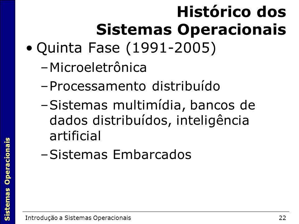 Sistemas Operacionais Introdução a Sistemas Operacionais22 Histórico dos Sistemas Operacionais Quinta Fase (1991-2005)  –Microeletrônica –Processamento distribuído –Sistemas multimídia, bancos de dados distribuídos, inteligência artificial –Sistemas Embarcados