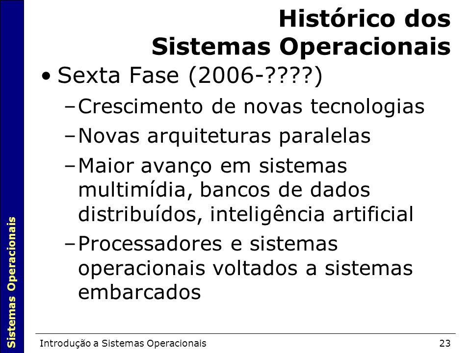 Sistemas Operacionais Introdução a Sistemas Operacionais23 Histórico dos Sistemas Operacionais Sexta Fase (2006-????)  –Crescimento de novas tecnolog