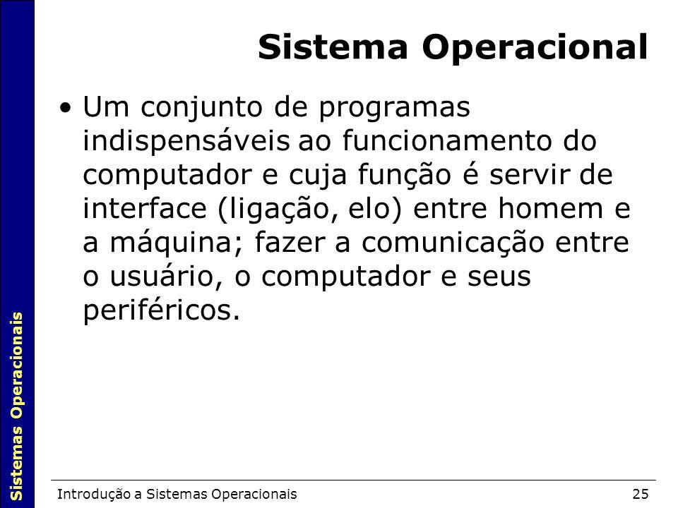Sistemas Operacionais Introdução a Sistemas Operacionais25 Sistema Operacional Um conjunto de programas indispensáveis ao funcionamento do computador e cuja função é servir de interface (ligação, elo) entre homem e a máquina; fazer a comunicação entre o usuário, o computador e seus periféricos.