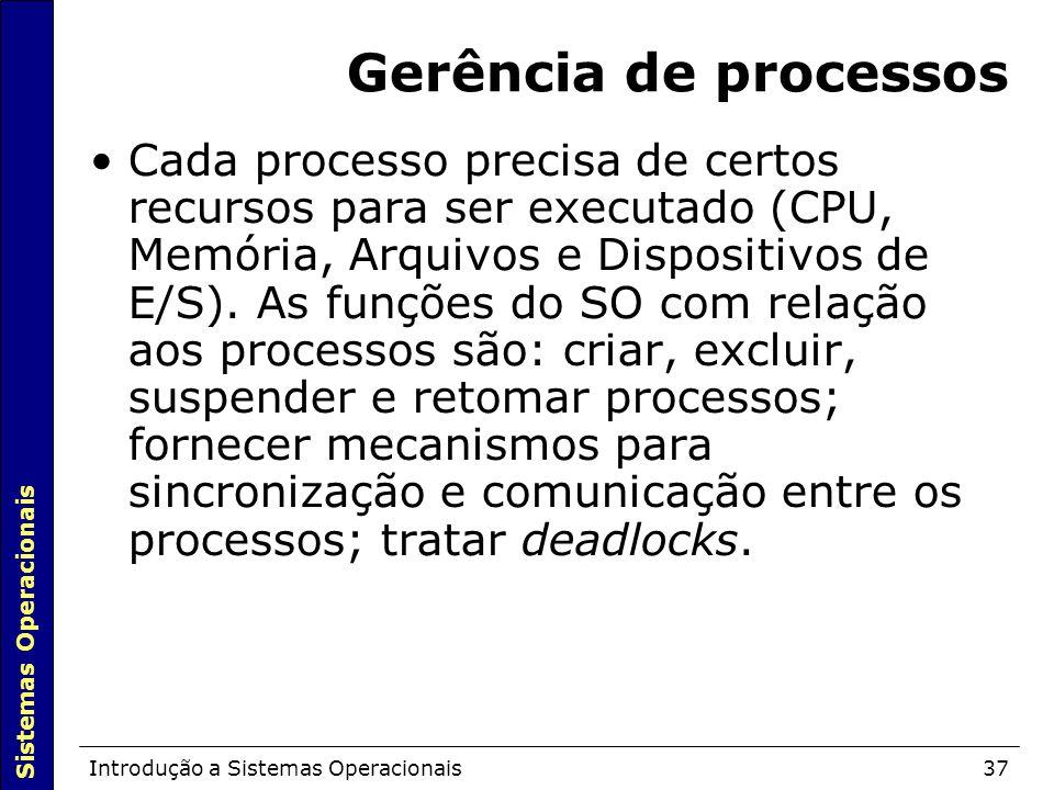 Sistemas Operacionais Introdução a Sistemas Operacionais37 Gerência de processos Cada processo precisa de certos recursos para ser executado (CPU, Mem