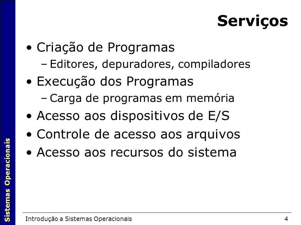 Sistemas Operacionais Introdução a Sistemas Operacionais4 Serviços Criação de Programas –Editores, depuradores, compiladores Execução dos Programas –C