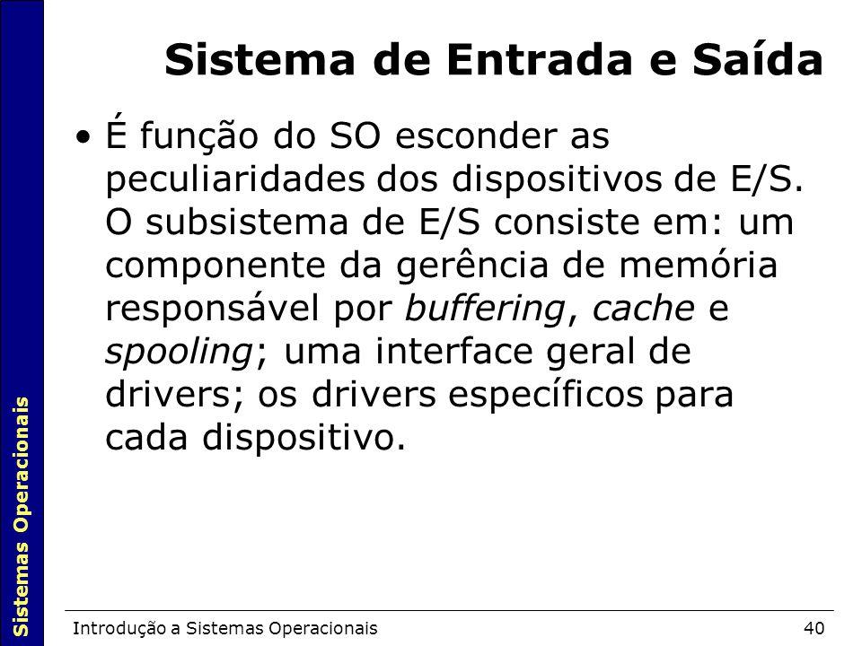 Sistemas Operacionais Introdução a Sistemas Operacionais40 Sistema de Entrada e Saída É função do SO esconder as peculiaridades dos dispositivos de E/S.