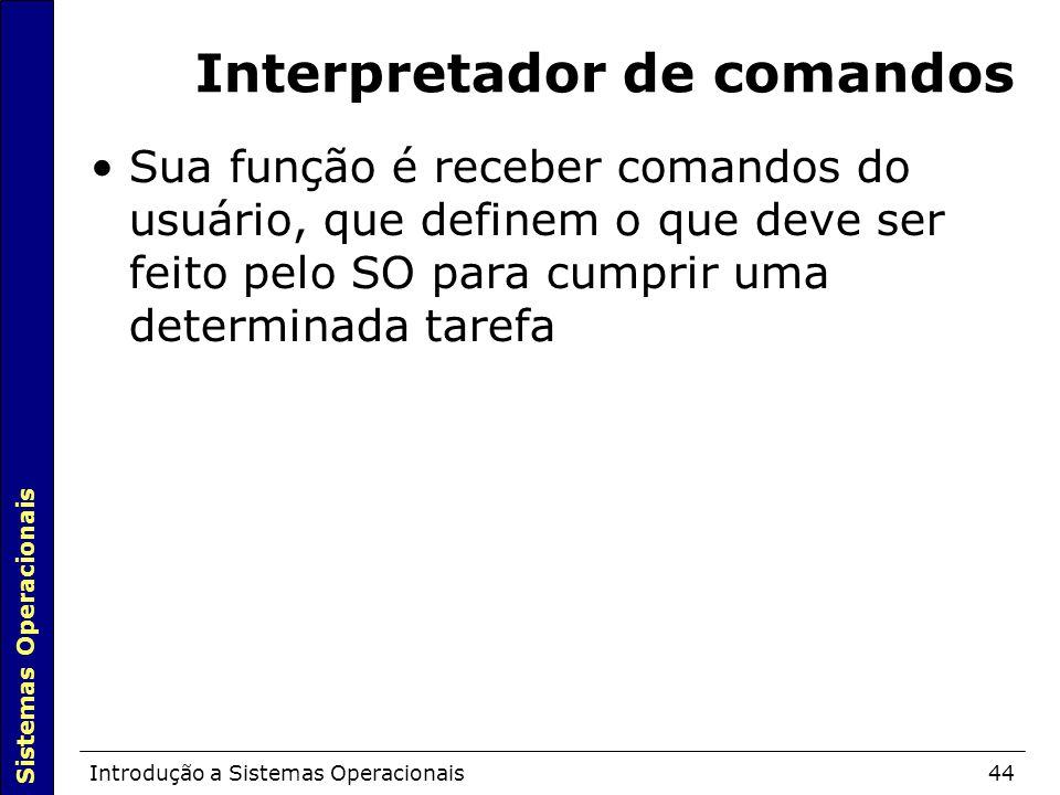Sistemas Operacionais Introdução a Sistemas Operacionais44 Interpretador de comandos Sua função é receber comandos do usuário, que definem o que deve ser feito pelo SO para cumprir uma determinada tarefa