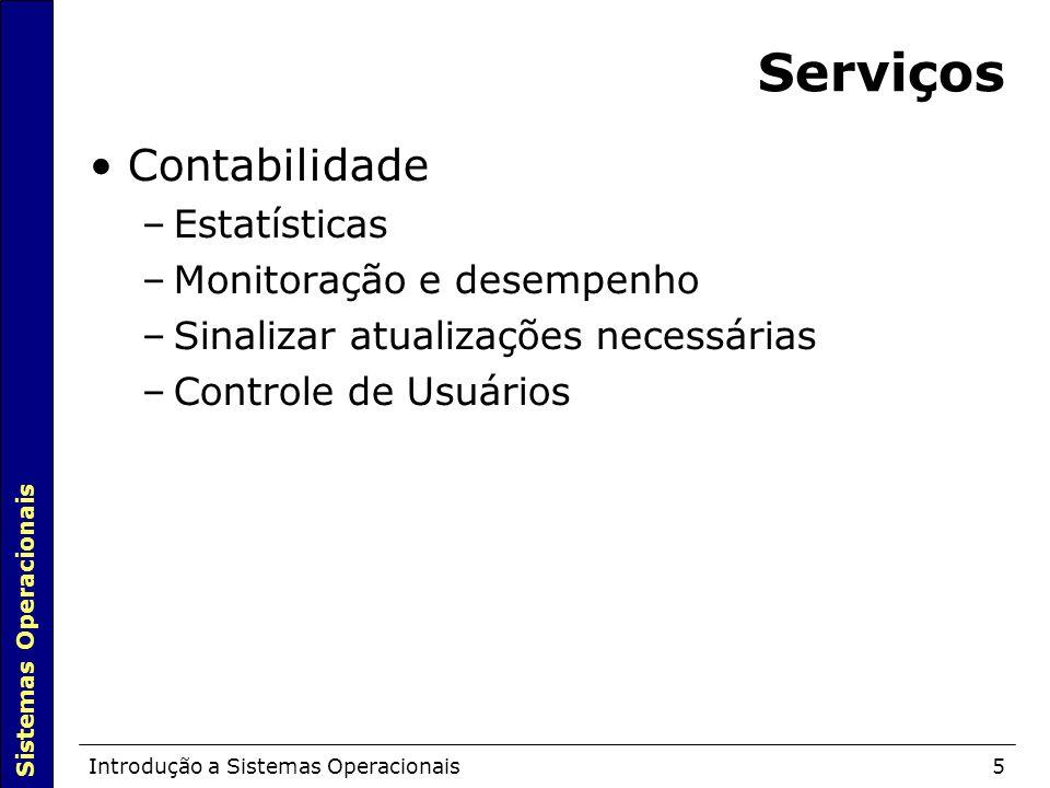 Sistemas Operacionais Introdução a Sistemas Operacionais5 Serviços Contabilidade –Estatísticas –Monitoração e desempenho –Sinalizar atualizações necessárias –Controle de Usuários