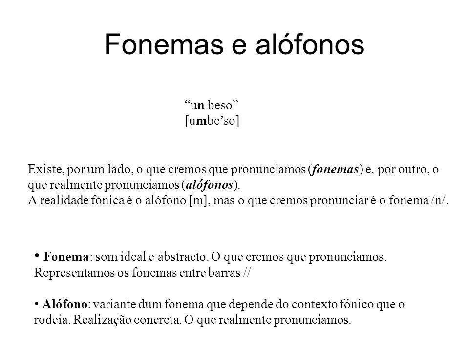 Fonemas e alófonos Existe, por um lado, o que cremos que pronunciamos (fonemas) e, por outro, o que realmente pronunciamos (alófonos). A realidade fón