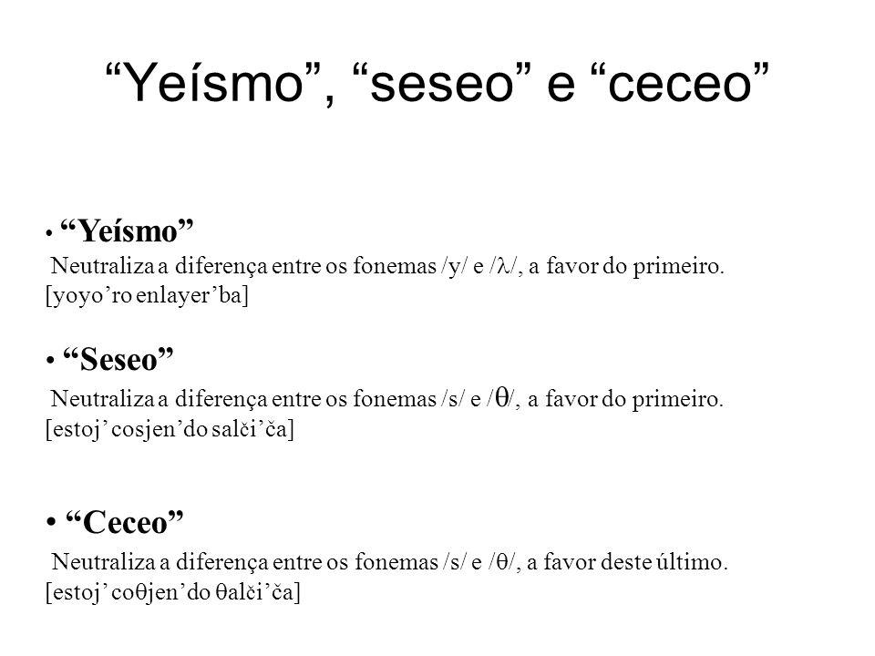 """""""Yeísmo"""", """"seseo"""" e """"ceceo"""" """"Yeísmo"""" Neutraliza a diferença entre os fonemas /y/ e / /, a favor do primeiro. [yoyo'ro enlayer'ba] """"Seseo"""" Neutraliza a"""