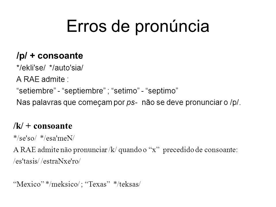 """Erros de pronúncia /p/ + consoante */ekli'se/ */auto'sia/ A RAE admite : """"setiembre"""" - """"septiembre"""" ; """"setimo"""" - """"septimo"""" Nas palavras que começam po"""