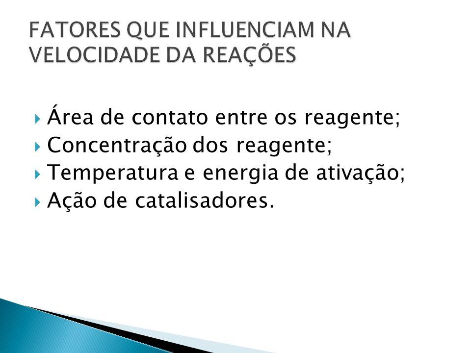  Área de contato entre os reagente;  Concentração dos reagente;  Temperatura e energia de ativação;  Ação de catalisadores.