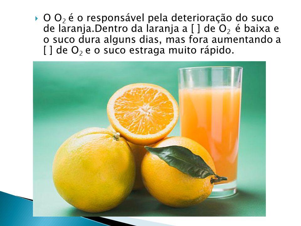  O O 2 é o responsável pela deterioração do suco de laranja.Dentro da laranja a [ ] de O 2 é baixa e o suco dura alguns dias, mas fora aumentando a [ ] de O 2 e o suco estraga muito rápido.
