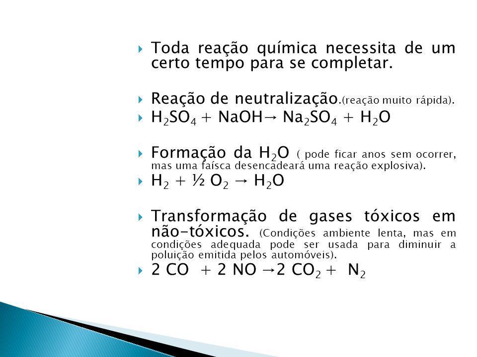 Concentração de NH 3 (mol.L -1 ) 8,0 8,04,02,01,0 Tempo (h) 00 001,02,0 3,0 3,0 2 NH 3 → N 2 + 3H 2 H 2 O 2(L) → H 2 O (L) + O 2(g) HCℓ