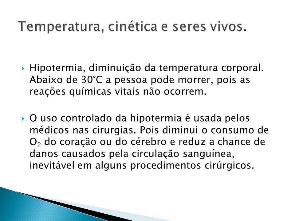  Hipotermia, diminuição da temperatura corporal.