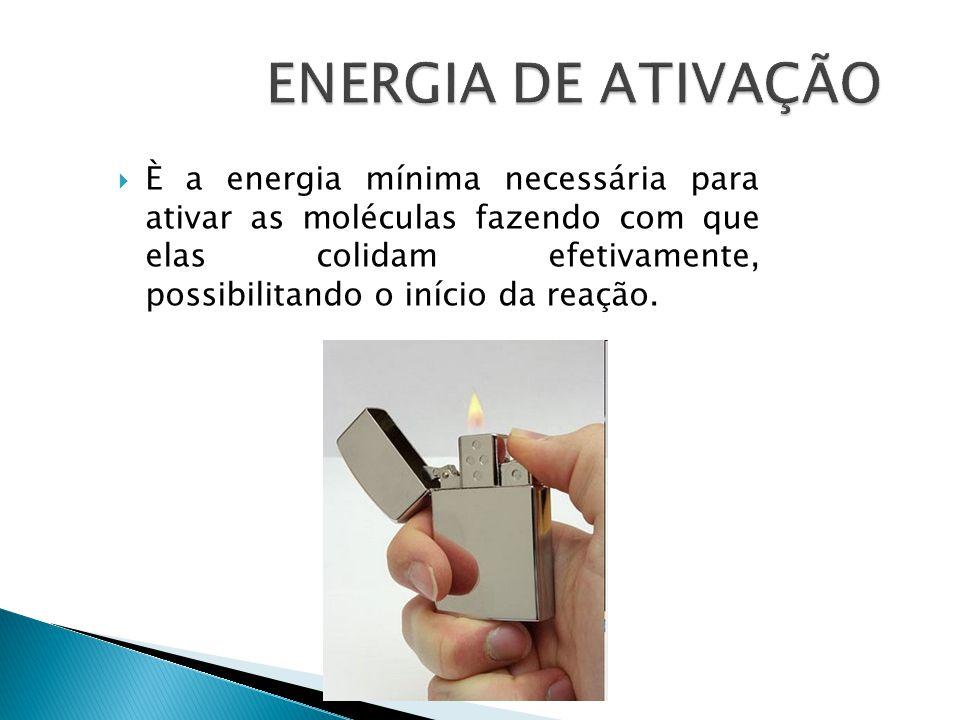  È a energia mínima necessária para ativar as moléculas fazendo com que elas colidam efetivamente, possibilitando o início da reação.