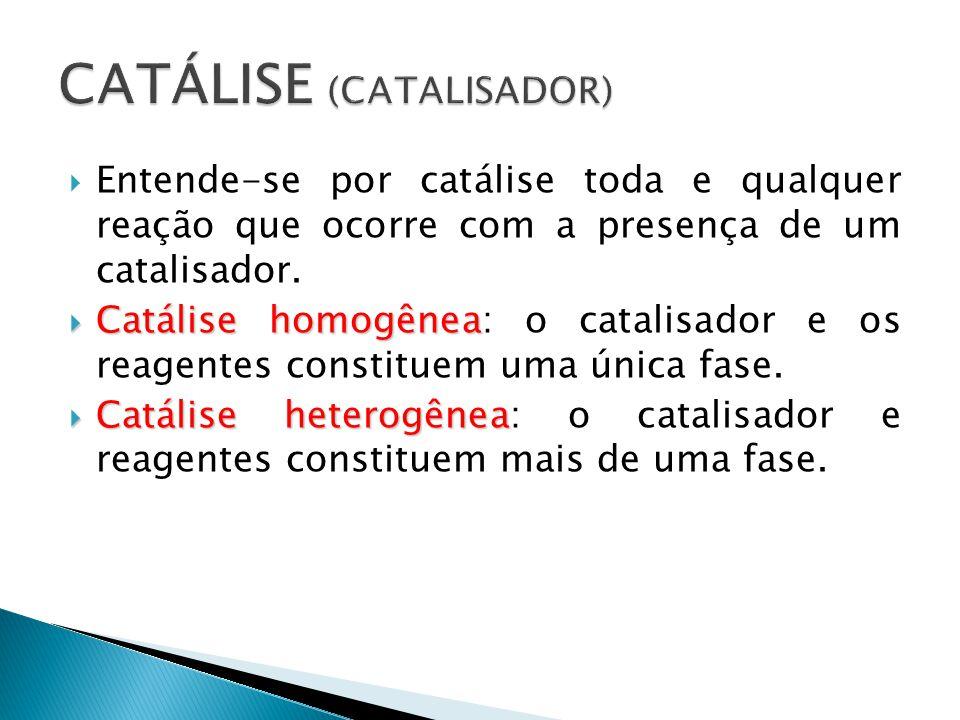  Entende-se por catálise toda e qualquer reação que ocorre com a presença de um catalisador.