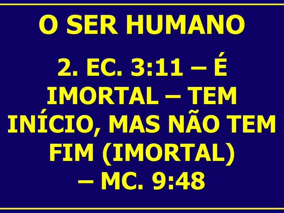 O SER HUMANO 2. EC. 3:11 – É IMORTAL – TEM INÍCIO, MAS NÃO TEM FIM (IMORTAL) – MC. 9:48