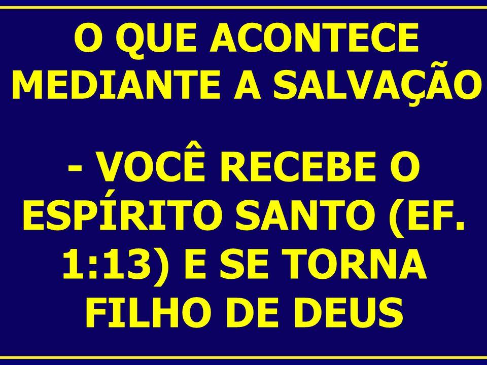 O QUE ACONTECE MEDIANTE A SALVAÇÃO - VOCÊ RECEBE O ESPÍRITO SANTO (EF. 1:13) E SE TORNA FILHO DE DEUS