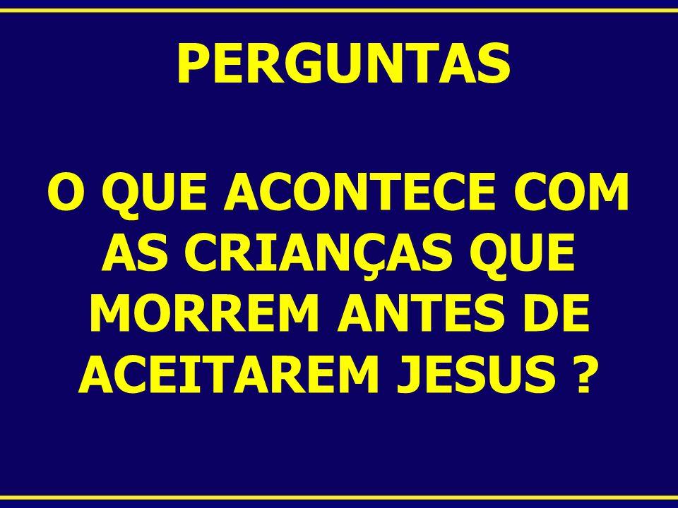 PERGUNTAS O QUE ACONTECE COM AS CRIANÇAS QUE MORREM ANTES DE ACEITAREM JESUS ?