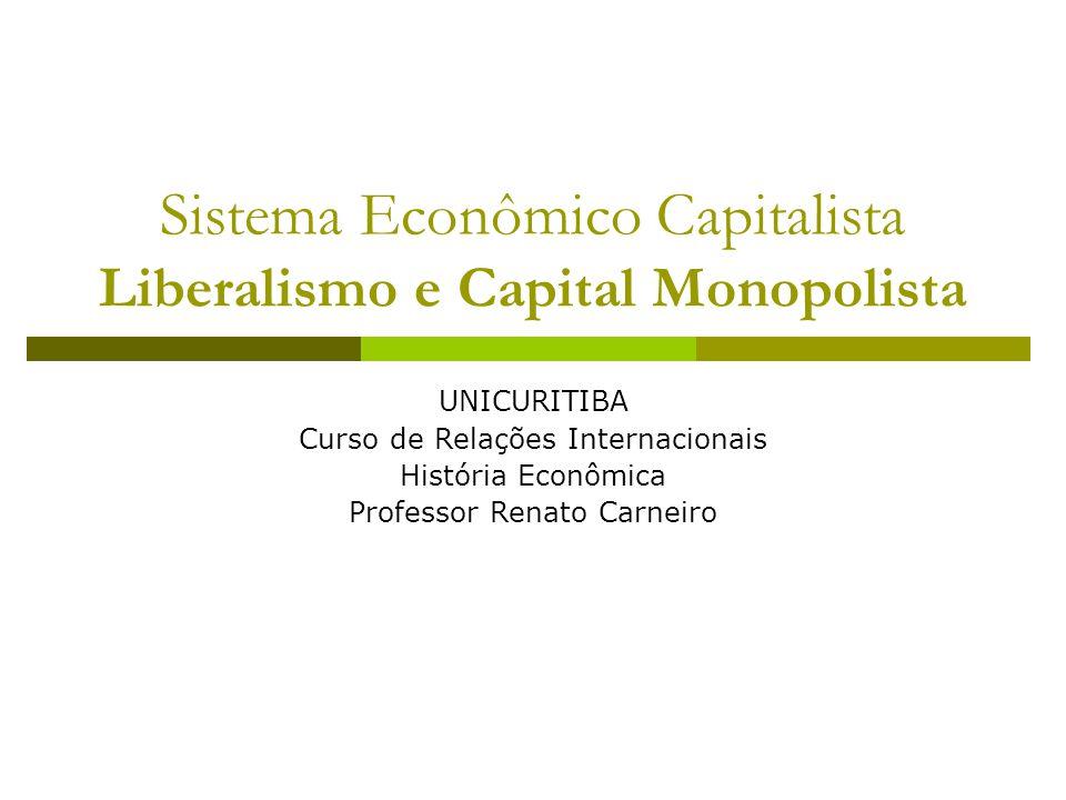 Sistema Econômico Capitalista Liberalismo e Capital Monopolista UNICURITIBA Curso de Relações Internacionais História Econômica Professor Renato Carneiro