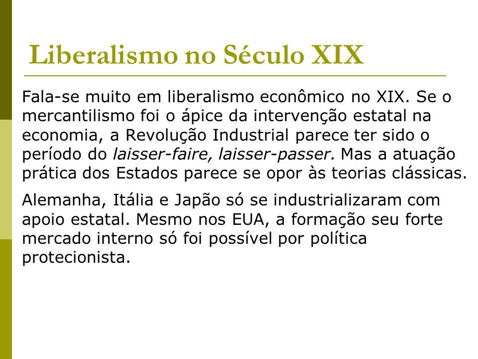 Liberalismo no Século XIX Fala-se muito em liberalismo econômico no XIX.
