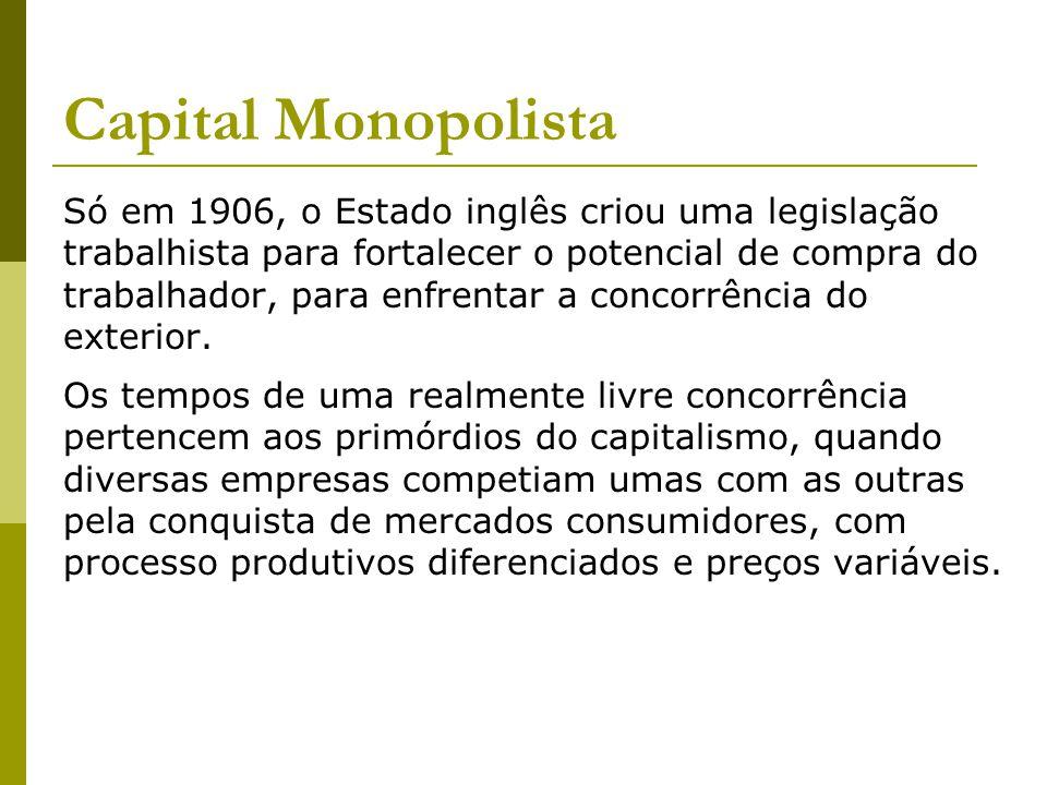 Capital Monopolista Só em 1906, o Estado inglês criou uma legislação trabalhista para fortalecer o potencial de compra do trabalhador, para enfrentar a concorrência do exterior.
