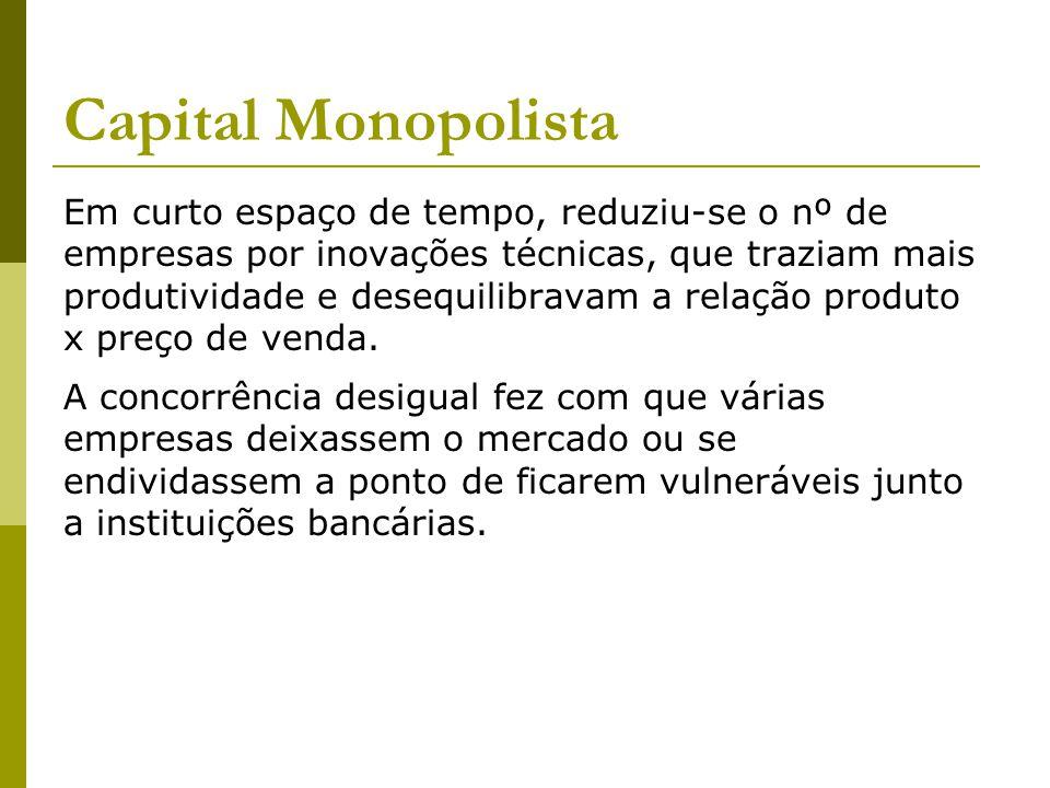 Capital Monopolista Em curto espaço de tempo, reduziu-se o nº de empresas por inovações técnicas, que traziam mais produtividade e desequilibravam a relação produto x preço de venda.