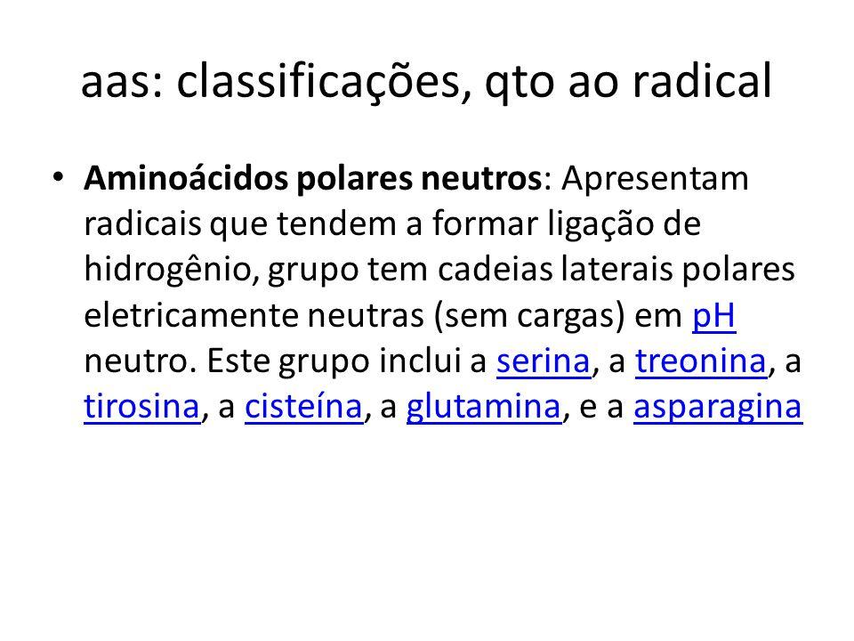 aas: classificações, qto ao radical Aminoácidos polares neutros: Apresentam radicais que tendem a formar ligação de hidrogênio, grupo tem cadeias late