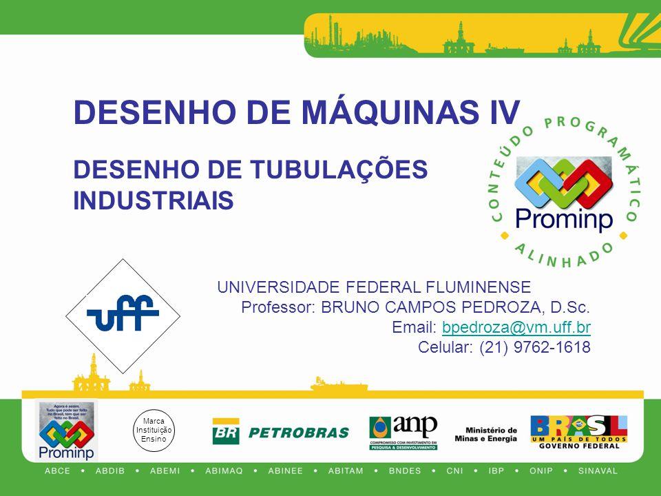 DESENHO DE MÁQUINAS IV DESENHO DE TUBULAÇÕES INDUSTRIAIS UNIVERSIDADE FEDERAL FLUMINENSE Professor: BRUNO CAMPOS PEDROZA, D.Sc.