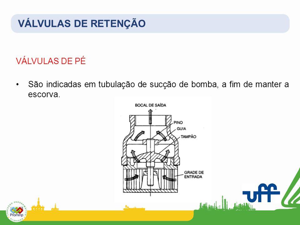 VÁLVULAS DE RETENÇÃO VÁLVULAS DE PÉ São indicadas em tubulação de sucção de bomba, a fim de manter a escorva.