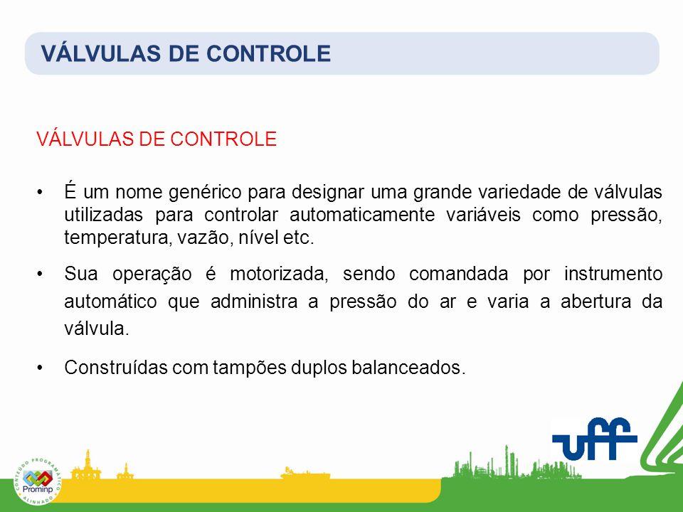 VÁLVULAS DE CONTROLE É um nome genérico para designar uma grande variedade de válvulas utilizadas para controlar automaticamente variáveis como pressão, temperatura, vazão, nível etc.