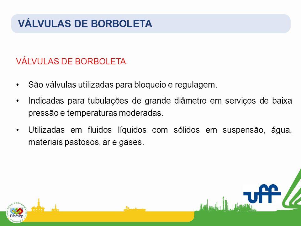 VÁLVULAS DE BORBOLETA São válvulas utilizadas para bloqueio e regulagem. Indicadas para tubulações de grande diâmetro em serviços de baixa pressão e t