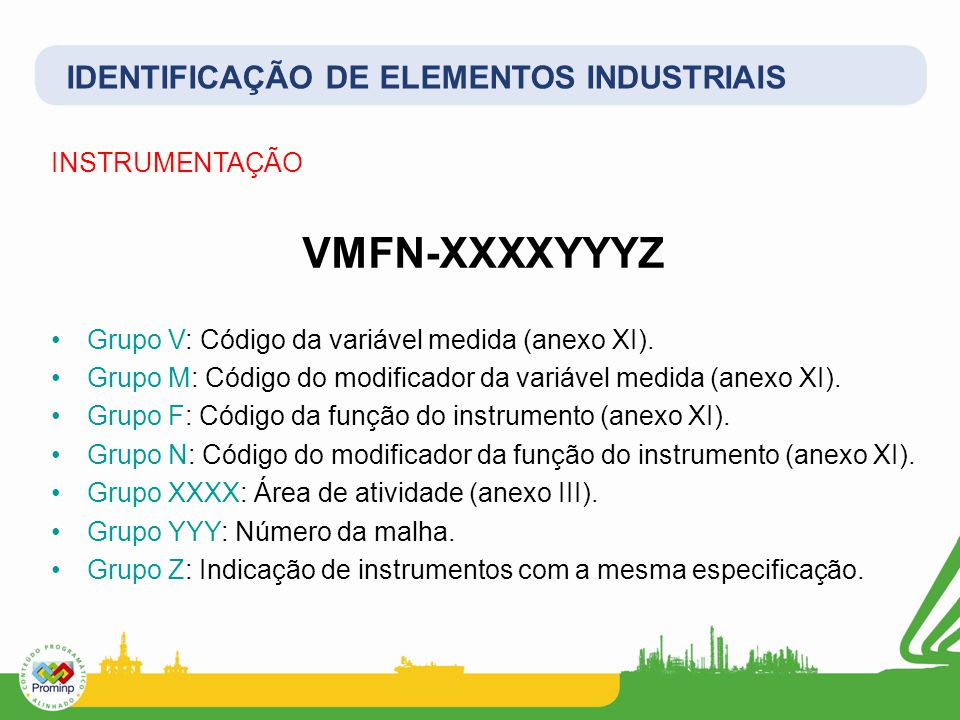 INSTRUMENTAÇÃO VMFN-XXXXYYYZ Grupo V: Código da variável medida (anexo XI). Grupo M: Código do modificador da variável medida (anexo XI). Grupo F: Cód