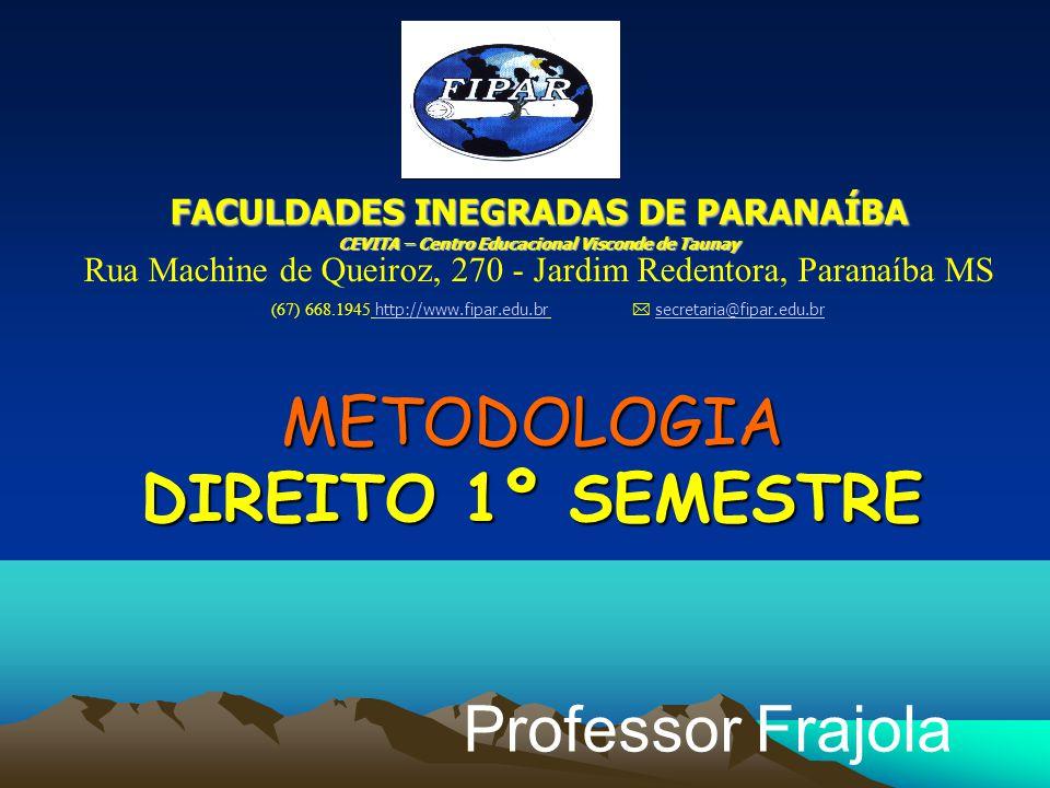 METODOLOGIA DIREITO 1º SEMESTRE Professor Frajola FACULDADES INEGRADAS DE PARANAÍBA CEVITA – Centro Educacional Visconde de Taunay Rua Machine de Quei