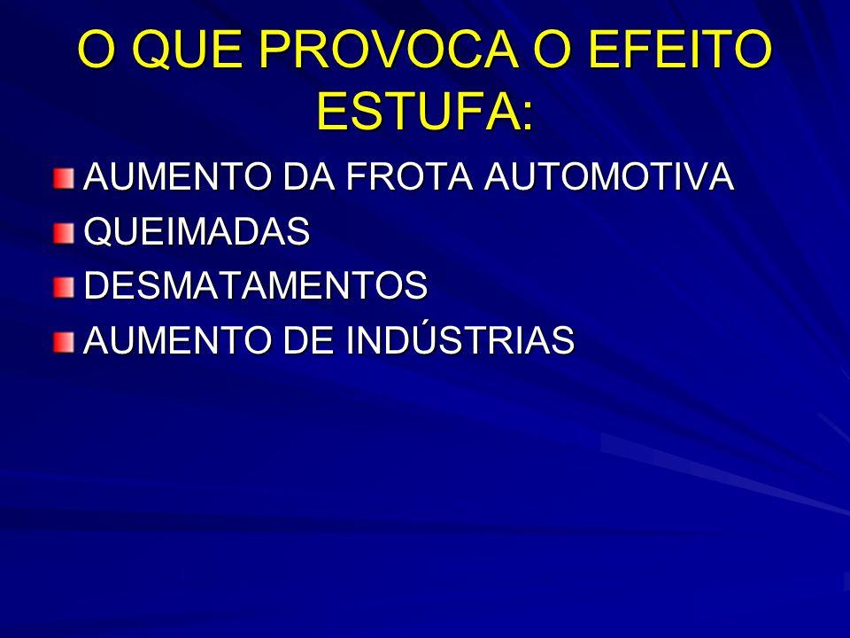 O QUE PROVOCA O EFEITO ESTUFA: AUMENTO DA FROTA AUTOMOTIVA QUEIMADASDESMATAMENTOS AUMENTO DE INDÚSTRIAS