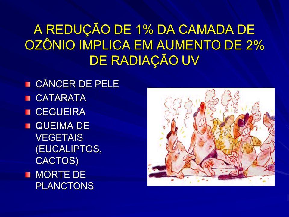 A REDUÇÃO DE 1% DA CAMADA DE OZÔNIO IMPLICA EM AUMENTO DE 2% DE RADIAÇÃO UV CÂNCER DE PELE CATARATACEGUEIRA QUEIMA DE VEGETAIS (EUCALIPTOS, CACTOS) MORTE DE PLANCTONS