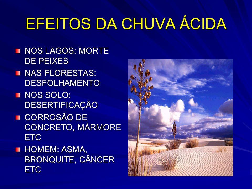 EFEITOS DA CHUVA ÁCIDA NOS LAGOS: MORTE DE PEIXES NAS FLORESTAS: DESFOLHAMENTO NOS SOLO: DESERTIFICAÇÃO CORROSÃO DE CONCRETO, MÁRMORE ETC HOMEM: ASMA, BRONQUITE, CÂNCER ETC