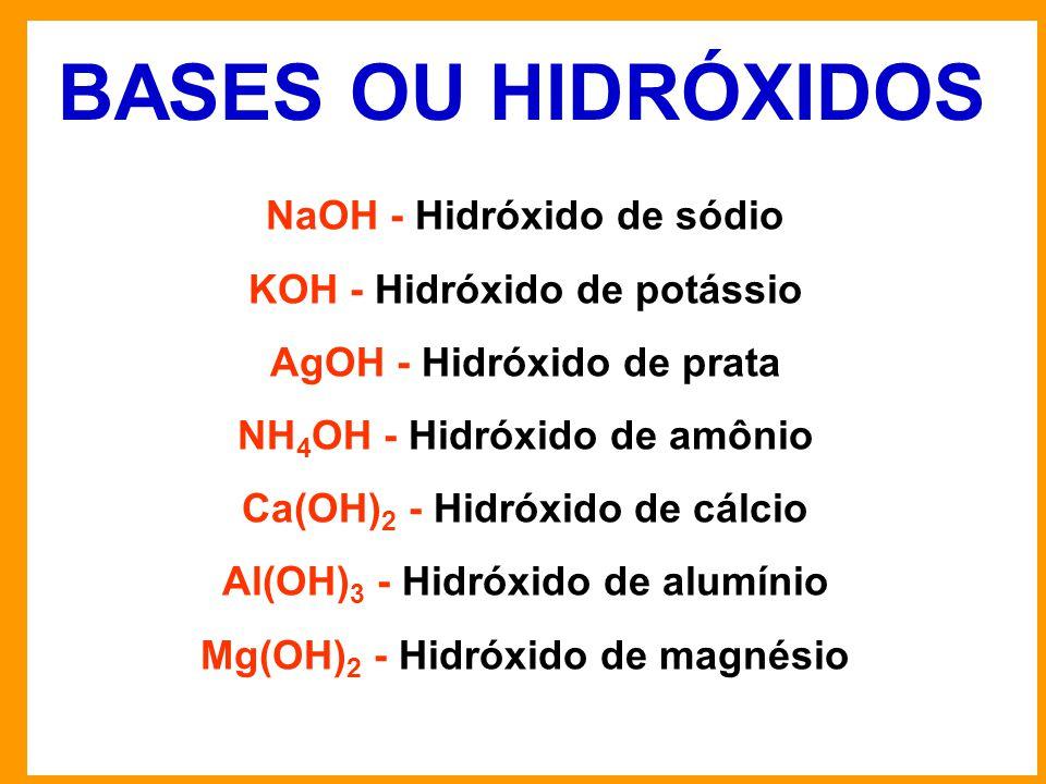 BASES OU HIDRÓXIDOS NaOH - Hidróxido de sódio KOH - Hidróxido de potássio AgOH - Hidróxido de prata NH 4 OH - Hidróxido de amônio Ca(OH) 2 - Hidróxido de cálcio Al(OH) 3 - Hidróxido de alumínio Mg(OH) 2 - Hidróxido de magnésio