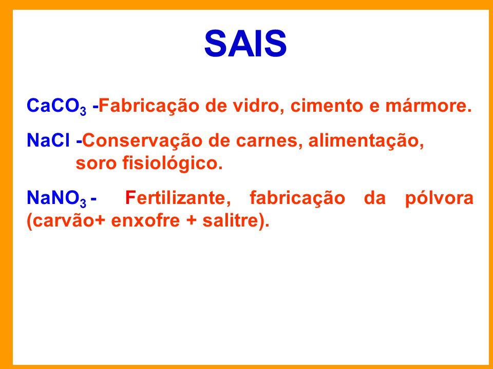 SAIS CaCO 3 -Fabricação de vidro, cimento e mármore.